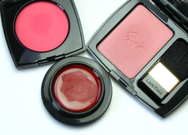 Chanel Le Blush Creme de Chanel in 65 Affinite, Majolica Majorca Blood On Cheek and Lip Colour, Lancome Blush Subtil in 02 Rose Sable