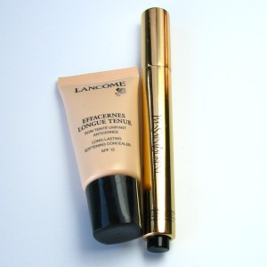 Lancome Long Lasting Softening Concealer in 02 Beige Sable, YSL Touche Eclat in 01.