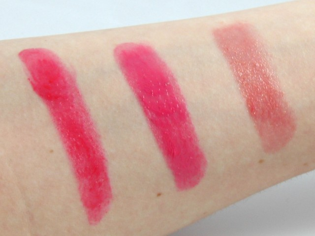 Natural light swatches, from left: Wild Watermelon, Sweet Tart, Peach Parfait.