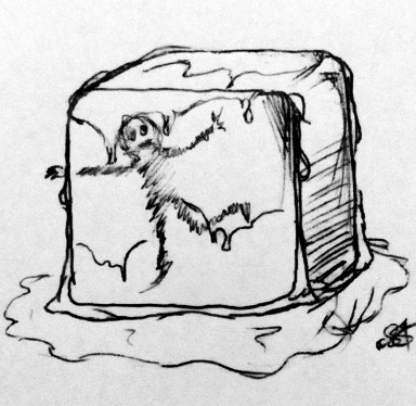 My horrifying Gelatinous Cube, complete with partially digested adventurer. A more colourful rendering can be found here.