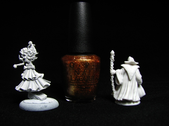 Guild of Harmony Sorceress and Reaper Bones Mindflayer, OPI Goldeneye