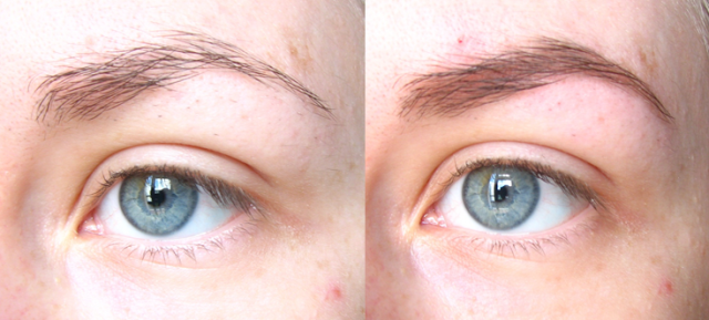 Brow tutorial before and after comparison