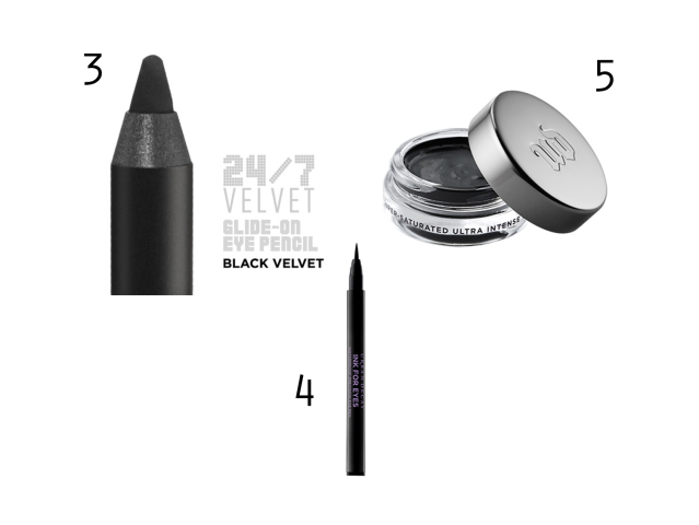 Urban Decay Perversion Cream eyeliner, Urban Decay Liquid felt tip liner, Urban Decay Black Velvet 24/7 liner