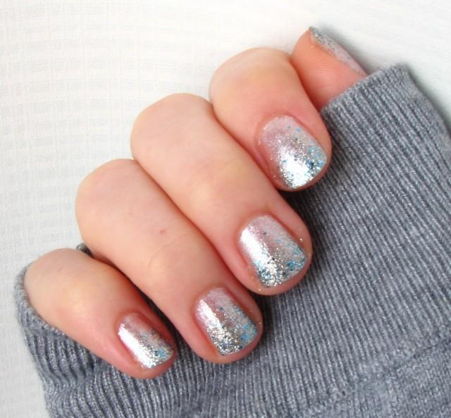 Frozen Glitter Gradient Mani China Glaze Lorelei's Tiara and OPI Happy Anniversary