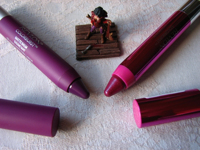 Revlon Lacquer Balm in Whimsical and Revlon Matte Balm in Shameless swatch and review