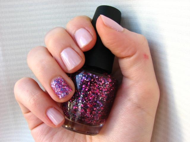 OPI Blush Hour and Care to Danse Purple Glitter Manicure