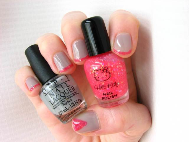 Grey and Electric Pink Manicure with OPI and Hello Kitty Polish