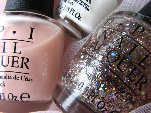 Bridal Glitter Ballet Manicure with OPI Rose of Light