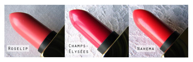 Guerlain Rouge Automatique Lipsticks Review and Swatches Nahema, Roselip, Champs Elysees