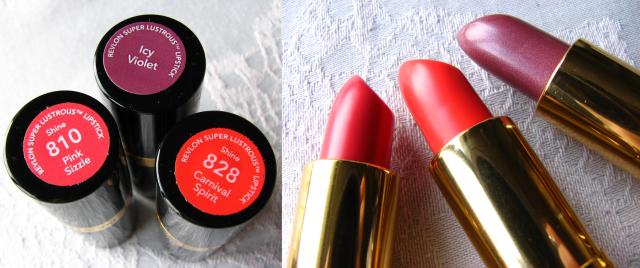 Revlon Legacy Icy Violet, Revlon Gucci Westman Carnival Spirit, Revlon SuperLustrous Pink Sizzle lipsticks review and swatches