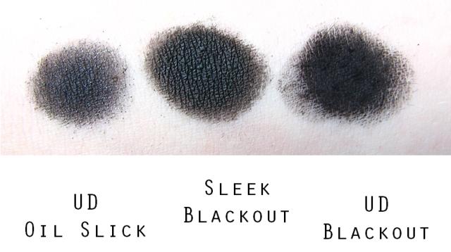 Sleek vs UD shade black swatches