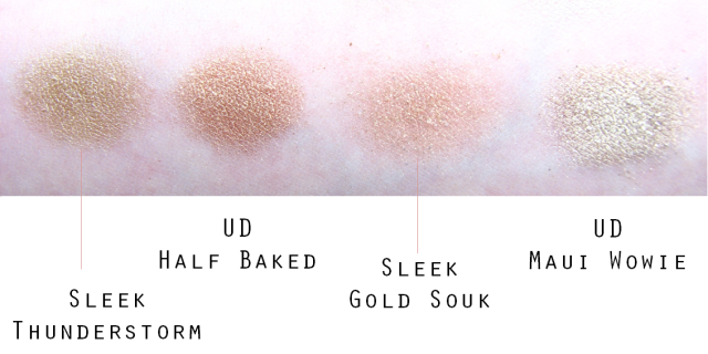 Sleek vs UD shade comparison golds swatches