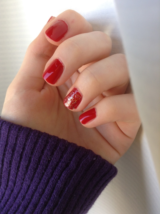 Butter London Come to Bed Red and OPI Rose of Light manicure
