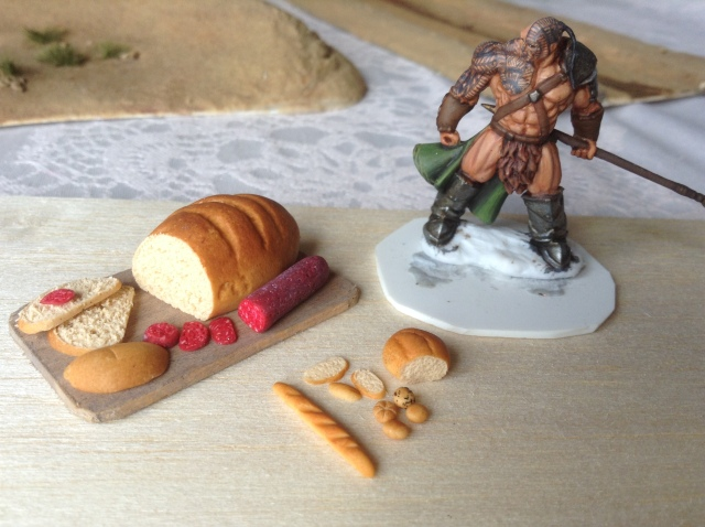 Miniature polymer clay bread and salami